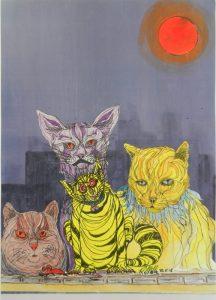 cats, moon, acrylic, cartoon,
