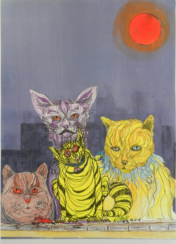 cats, moon, acrylic, cartoon,
