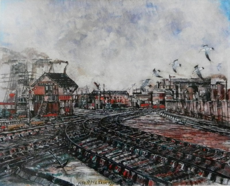 train, rail, tracks, signal box, poplar, london, seagulls, painting,