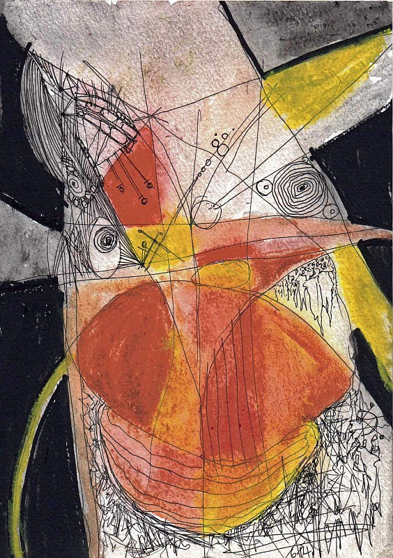 abstract, orange, yellow, figures, dream,detail