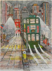 tram, hong kong, painting,