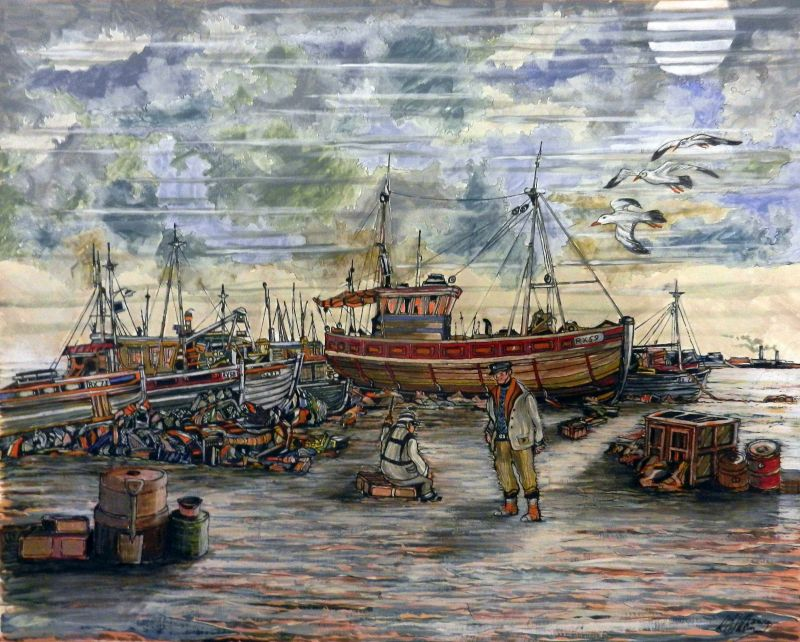 boats, fishermen, fishing boats, seagulls, birds, painting