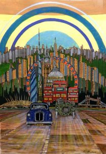 london, taxi, black cab, st. pauls, gherkin, rainbow, routemaster, 02 arena, tower bridge, surreal, painting,