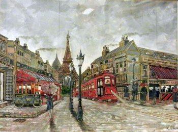 paris, painting, eiffel tower,tram,