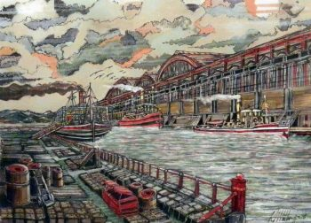 dock, painting, detail, steam boats,