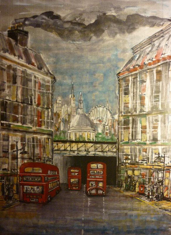 london, fleet street, routemaster, acrylic, painting, bus, saint pauls, london eye,