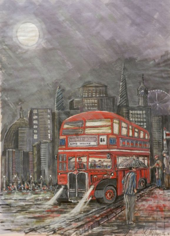 routemaster, red bus, double decker, london, moonlight, iconic, architecture, painting,