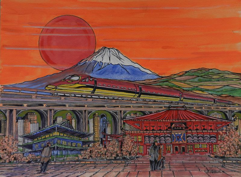 japan, mount fuji, Chashitsu, tea house, bullet train, bridge, painting,