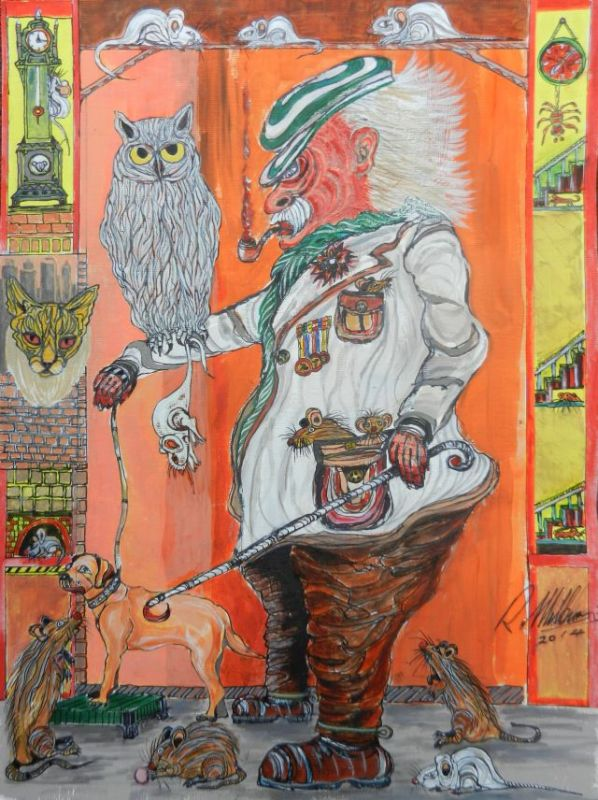 painting, old man, owl, rats, spiders, cat, dog,