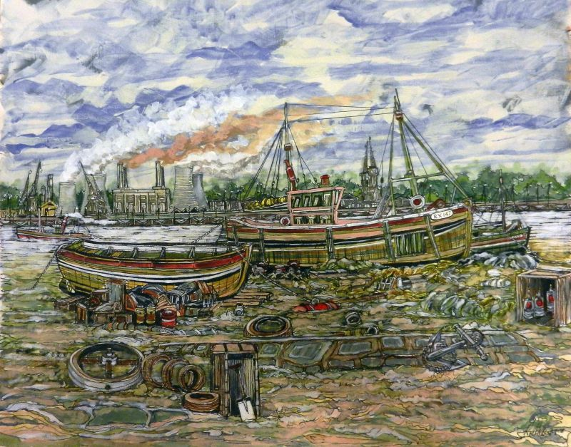 sea jade, fishing boat, london, thames, battersy power station, london, painting,
