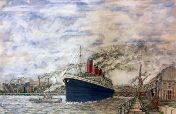 Titanic, southampton Port, berth 44, white star dock, tug boat, steam ship, painting,
