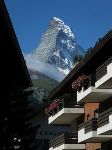 matterhorn, switzerland, zermatt, clouds, photo, photograph, chalet,