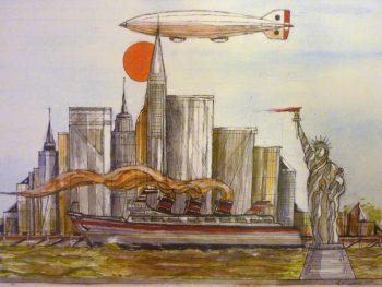 Statue of Liberty, Steam ship, zeppelin, airship, cityscape, sun, new york,