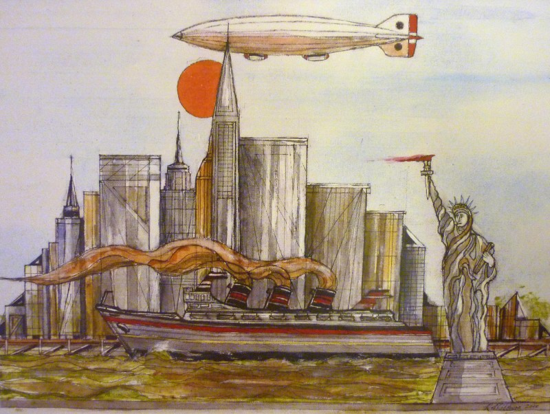 Statue of Liberty, Steam ship, zeppelin, airship, cityscape, sun, new york,