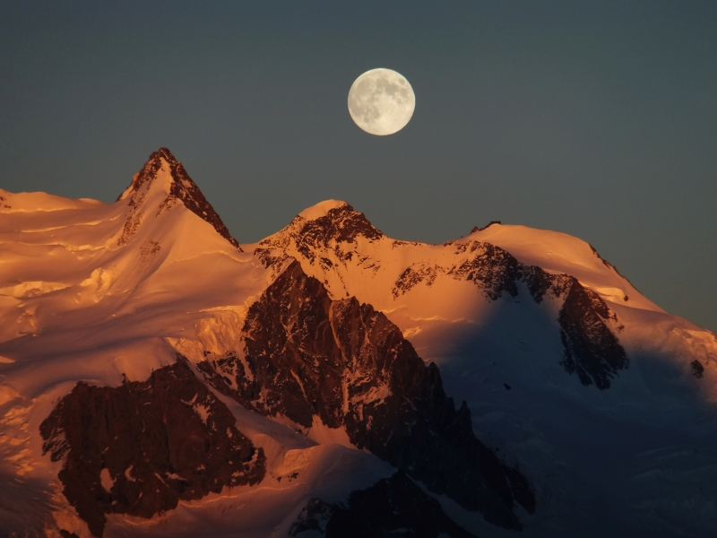 switzerland, mountains, snow, full moon, moonlight, photo, photography, photograph,