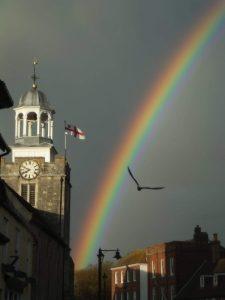 lymington, rainbow, high street, church, bird, church bell, photo, photograph,