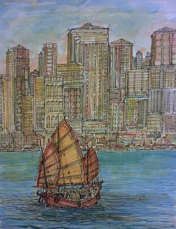 hong kong, junk, boat, cityscape, detail, harbour,